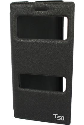 Case 4U Turkcell T50 Siyah Kapaklı Kılıf