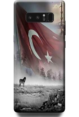 Dynamics Note 8 Kurt Ve Türk Bayrağı Desenli Arka Esnek Kapak Kılıf