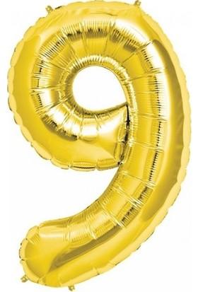 Balonpark Rakam Folyo Balon 9 Rakamı Büyük Boy Balon Altın Sarısı/Dore 100CM