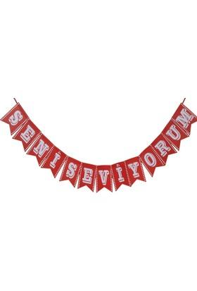 Balonpark 1 Adet Kurdeleli Seni Seviyorum Yazılı Şekilli Kırmızı Harf Flama