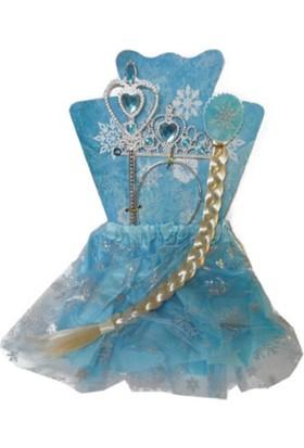 Balonpark Frozen Elsa Kostüm Seti,Elsa Saçı ve Tacı,Tütü Eteği ve Asası