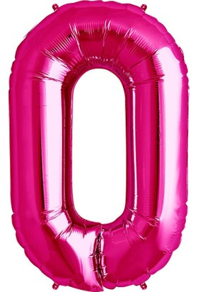 Balonpark 100 cm Pembe 0 Rakam Folyo Balonu, Sayı Büyük Boy Helyumla Uçan