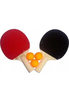 Balonpark 2 Adet Ahşap Masa Tenisi Raketi ve 3 Adet Top Pinpon Seti