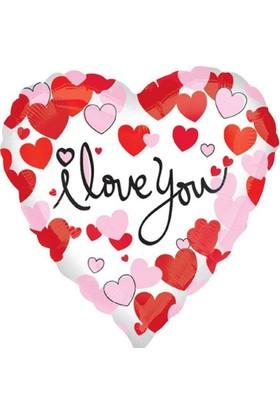 Balonpark 1 Adet 45cm I Love You Baskılı Kalp Folyo Balyon