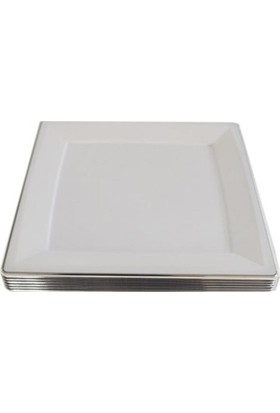 Balonpark 6 Adet Metalize Gümüş Gri Kare Kağıt Supla Tabak