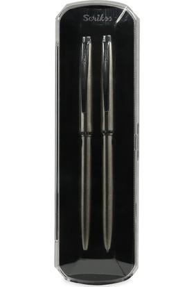 Scrikss 108M Prestige Paslanmaz Çelik Tükenmez + Versatil Kalem (0,5mm) Takımı