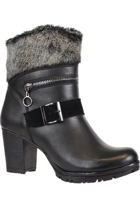 Nstep 8076K Kadın Topuklu Fermuarlı Termal Kışlık Bot Ayakkabı