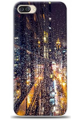 Dynamics Zenfone 4 Max (ZC554KL) Şehir Ve Yağmur Desenli Arka Esnek Kapak Kılıf