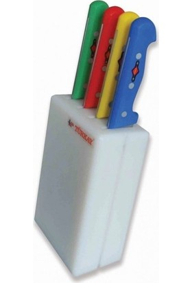 Polietilen Bıçak Kütüğü Küçük Kasap Tipi 4 Bıçak Hazneli