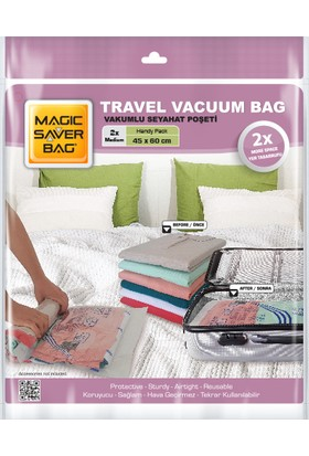 Magic Saver Bag 2'li Seyahat Vakumlu Poşet Seti (M)