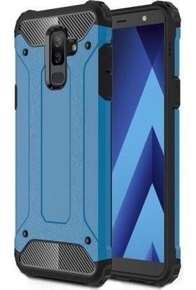 Teleplus Samsung Galaxy J8 Çift Katmanlı Tank Kapak Kılıf Mavi + Nano Ekran Koruyucu