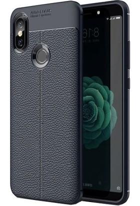 Teleplus Xiaomi Mi 6X Deri Dokulu Silikon Kılıf Lacivert