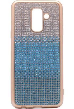 Teleplus Samsung Galaxy J8 Lazer Taşlı Silikon Kılıf Mavi