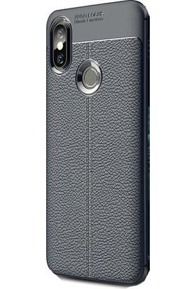 Teleplus Xiaomi Mi A2 Lite Deri Dokulu Silikon Kılıf Lacivert + Nano Ekran Koruyucu