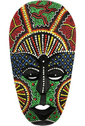 Dekodem Ahşap Renkli Uzaylı Maske Duvar Süsü