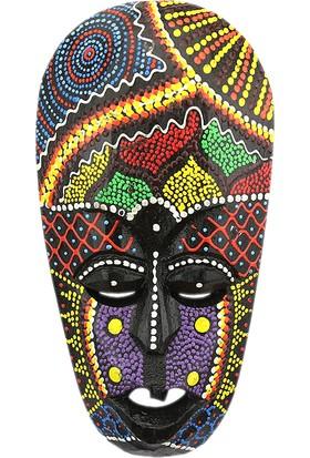 Dekodem Ahşap Renkli Antik Maske Duvar Süsü