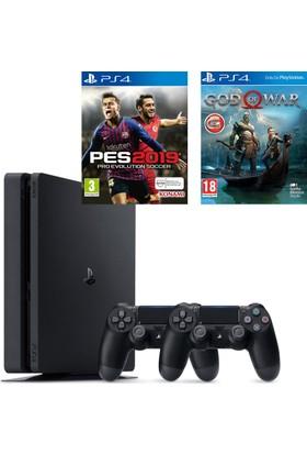 Sony PS4 Slim 1Tb Oyun Konsolu + 2. PS4 Kol + PS4 Pes 19 + PS4 God Of War