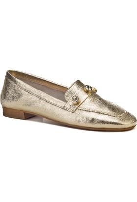 Cabani İnci Süslemeli Günlük Kadın Ayakkabı Altın Deri