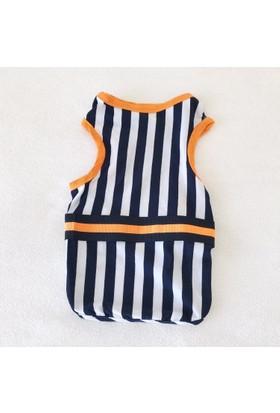Kemique Navy Strıpes Orange Atlet By Kedi Elbisesi