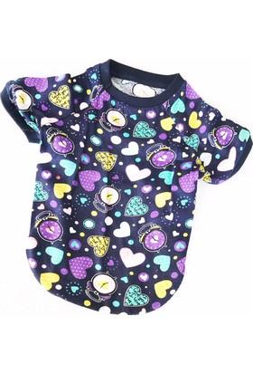 Kemique Colourful Hearts Oval Yaka Tişört Summer T By Kedi Elbisesi