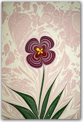 Diji Kanvas Mor Çiçek Ebru Sanatı Dekoratif Kanvas Tablo