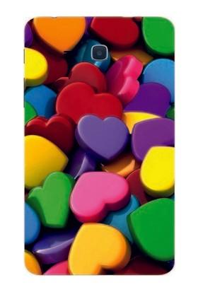 GoGo Samsung Galaxy Tab 3 Lite T110/T113/T116 Renkli 4D Kalpler Baskılı Silikon Kılıf