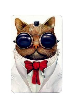 GoGo Samsung Galaxy Tab A Sm T350 Gözlüklü Kedi Baskılı Silikon Kılıf