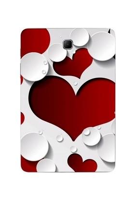 GoGo Samsung Galaxy Tab A Sm T350 Kırmızı Beyaz Kalpler Desenli Kılıf