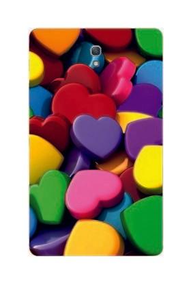 GoGo Samsung Galaxy Tab S Sm-T700 Renkli 4D Kalpler Baskılı Silikon Kılıf