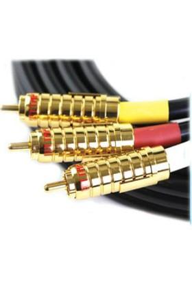 Ttaf 54102 3Xrca 24K Golt Kompozit Profesyonel Kablo 2M