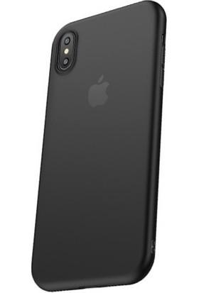 Cafele iPhone X Açık Siyah Silikon Kılıf + Ekran Koruyucu