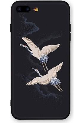 Vendas iPhone 7 Plus Özgür Kuşlar Resimli Silikon Kılıf - Siyah