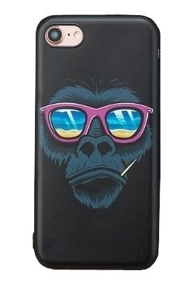 Vendas Apple iPhone 7 Patron Maymun Siyah Silikon Kılıf + Ekran Koruyucu