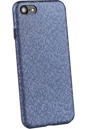 Vendas iPhone 8 Plaid Serisi Sert PC Arka Kapak Mavi + Ekran Koruyucu