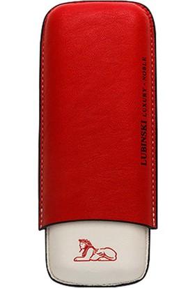 Lubinski 2'li Yumuşak Kırmızı Deri Puro Kılıfı, Kutusu py15kr