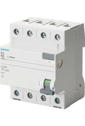 Siemens 5Sv4344-0 40A 30Ma 400V (3 Faz+Nötr) Kaçak Akım Koruma Rölesi 4 Adet