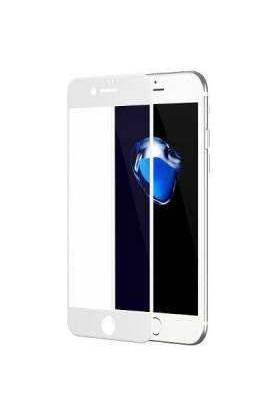 Piili 6D Eğimli Kenar Ön Panel iPhone 8 Cam Ekran Koruyucu Beyaz