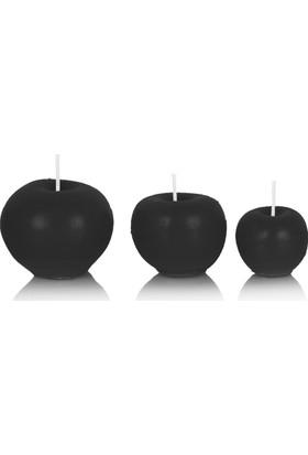 Zeyrek 3 Lü Elma Mum Siyah