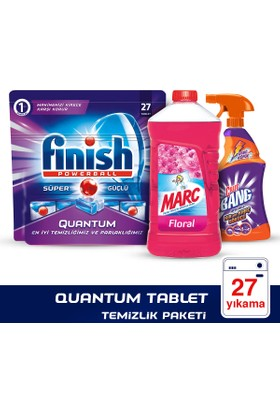 Finish Bulaşık Makinesi Deterjanı Quantum Tablet 27'li+Cillit Bang Kireç Sökücü Sprey+Marc Yüzey Temizleyici Floral 2500 ml