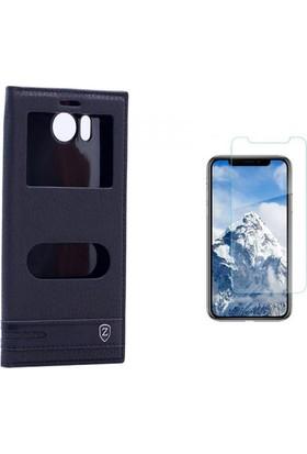 Case 4U Vestel Venüs V3 5580 Pencereli Kılıf Siyah + Cam Ekran Koruyucu