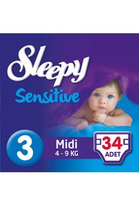 Sleepy Sensitive Bebek Bezi 3 Beden Midi Jumbo Paket 34 Adet