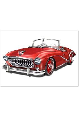 Diji Kanvas Kırmızı Vintage Otomobil Kanvas Tablo