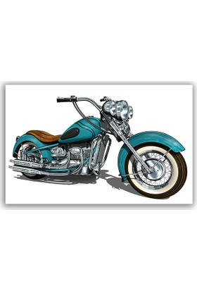 Diji Kanvas Mavi Motosiklet Kanvas Tablo