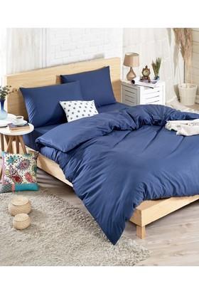 Eponj Home Flat Indigo Cotton Çift Kişilik Nevresim Takımı Mavi