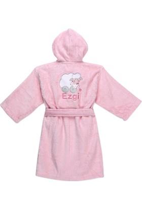 Pompon İsme Ozel Kedili Çocuk Bornozu Pembe 7-8 yas