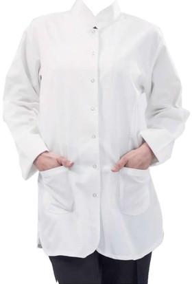 Şensel İş Önlüğü Bayan Hakim Yaka İş Elbiseleri Laboratuvar Önlüğü