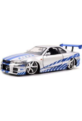 Jada Toys 1/24 Ölçek Fast and Furious Brian's Nissan Skyline GT-R Model Araba