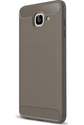 Microcase Samsung Galaxy J7 Max Brushed Carbon Fiber Silikon Kılıf + Tempered Ekran Koruyucu Cam