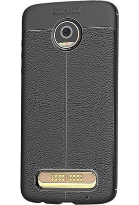 Microcase Motorola Moto Z2 Play Leather Effect TPU Silikon Kılıf