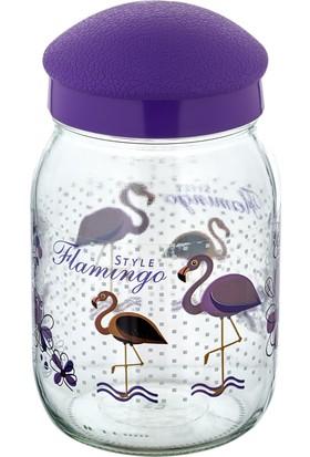 Eminem 1,5 L Plastik Kapaklı Mor Flamingo Desenli Cam Kavanoz